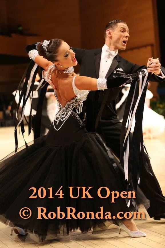 Sophisticated black and white ballroom dress