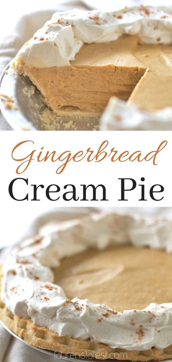 This easy gingerbread cream pie is a perfect holiday dessert and a great alternative to traditional pumpkin pie! This simple pie recipe with vanilla pudding and warming spices perfectly fits the Thanksgiving and Christmas season.