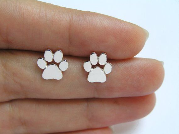 8d481e297 Paw Print Studs - Sterling Silver Earrings - Cats or Dogs Paws - hand cut