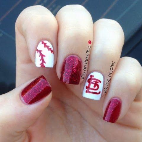 Kiss on the Chic: St. Louis Cardinals #nail #nails #nailart - Kiss On The Chic: St. Louis Cardinals #nail #nails #nailart