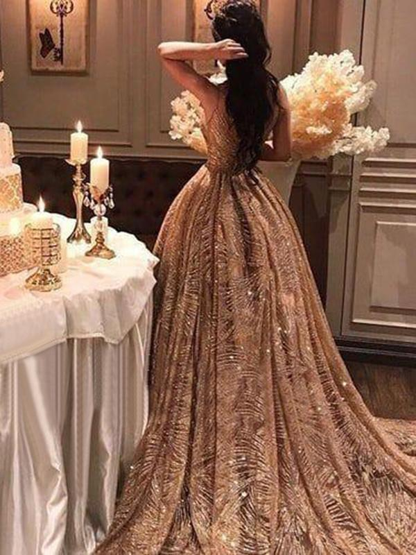 8e610183b65d Chic Gold Prom Dress Vintage Unique Long Prom Dress #VB2415 - DemiDress.com
