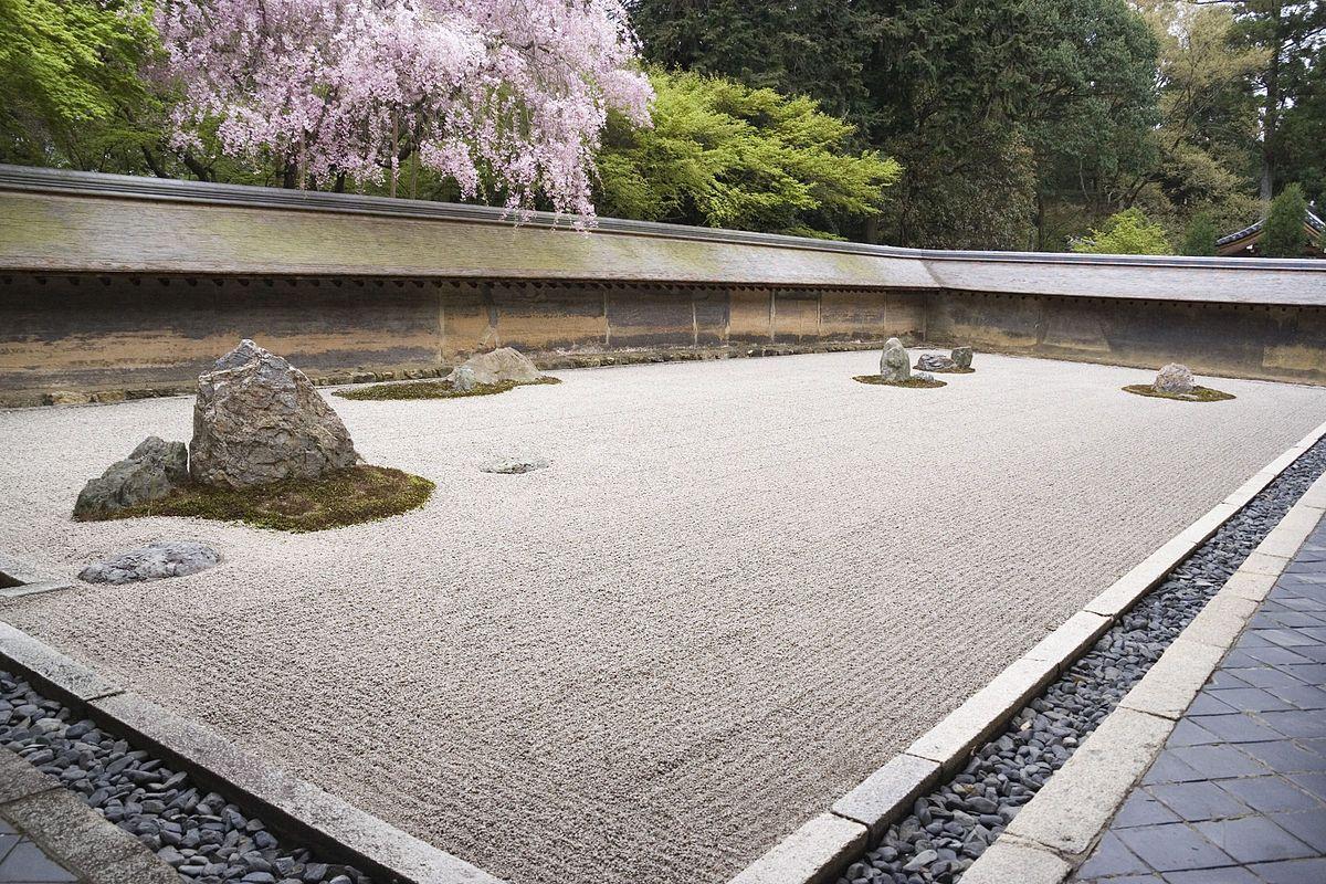 Ryōan-ji (late 15th century) in Kyoto, Japan, a famous ...
