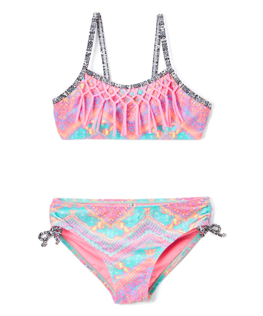 Pink Kaleidoscopic Ruffle-Accent Bikini - Girls