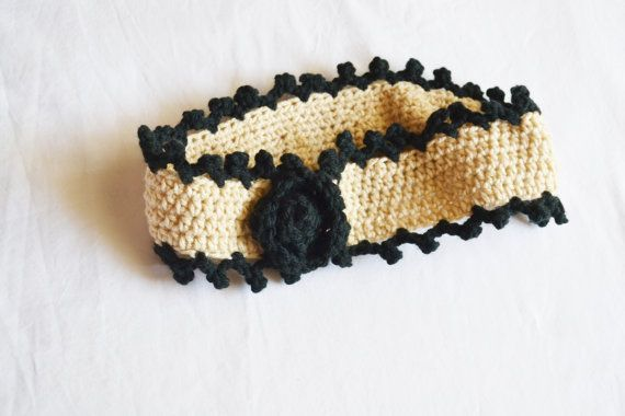 Two Tone Head Band Romantic Beige Floral Design by DeEscalaArt, HAND MADE HOLIDAY GIFT IDEA