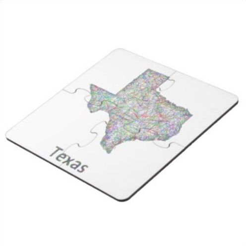 Texas Map Puzzle Coaster Colorful Line Art Design Map Of - Texas map puzzle