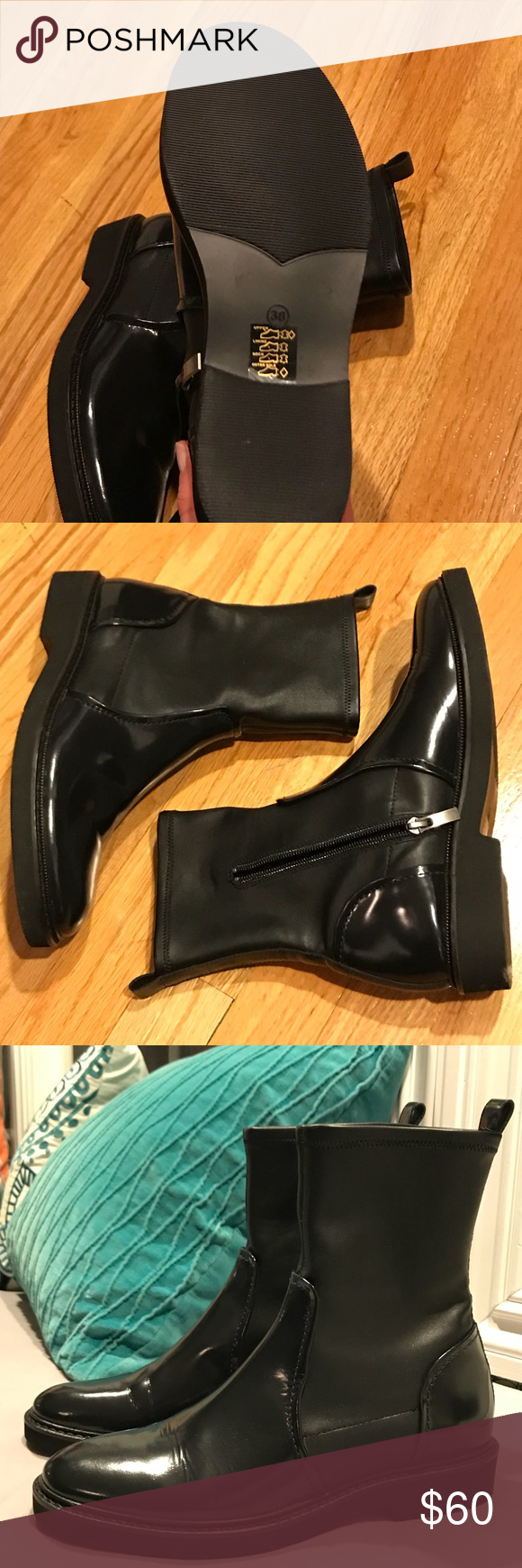 Patent Leather Bruno Premi Boots New unworn Bruno Premi shoes without box. Patent leather and faux leather featuring zip and pull tab. Size 38, slightly large for me but very good looking shoe. Dark blue almost appearing black. Bruno Premi Shoes Ankle Boots & Booties