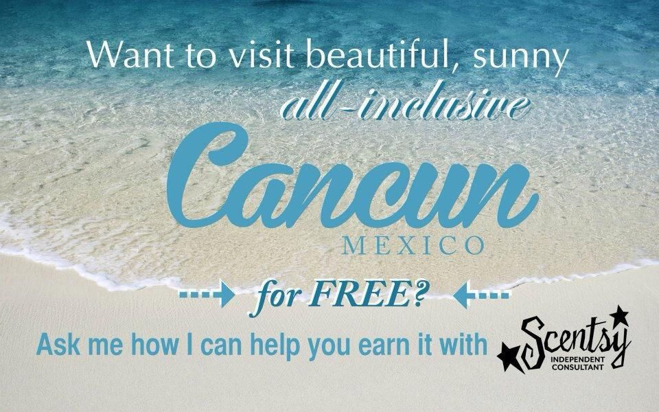WOW! We can EARN an all-inclusive 5-day and 4-night stay at the Moon Palace Resort in Cancún, Mexico, from January 5-9, 2015 for reaching just 15,000 points in May, June and July? Soooooo easy to do! If you have EVER thought about joining Scentsy, now is the time! Come on, start your own business and earn an AMAZING FREE trip!!