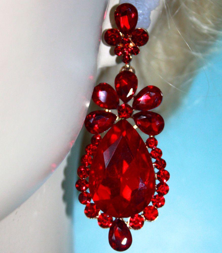 Rhinestone Chandelier Earrings Bridal Prom Pageant 3 In Long Red