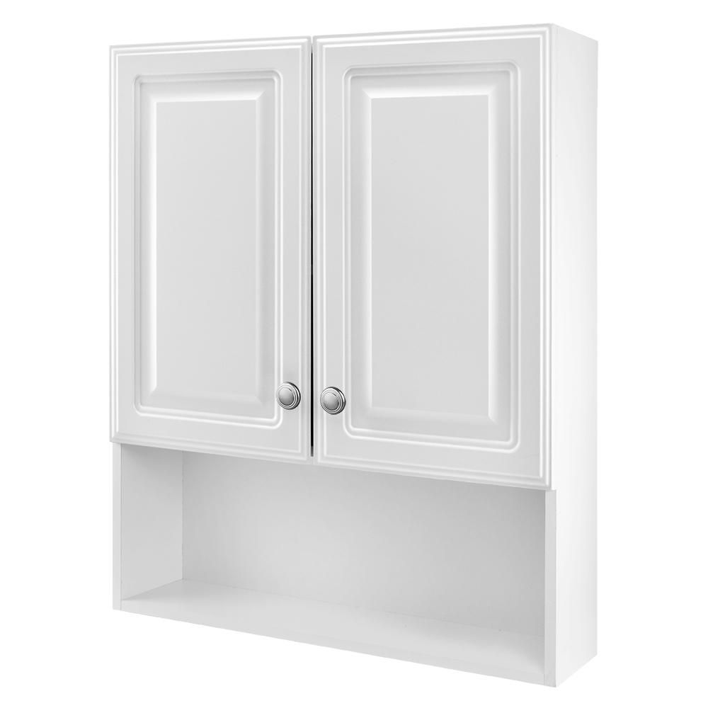 Glacier Bay 23 1 8 In W X 27 7 8 In H Framed Surface Mount Bathroom Medicine Cabinet In White 45396 The Home Depot In 2020 Cabinet Above Toilet Bathroom Medicine Cabinet White Storage Cabinets