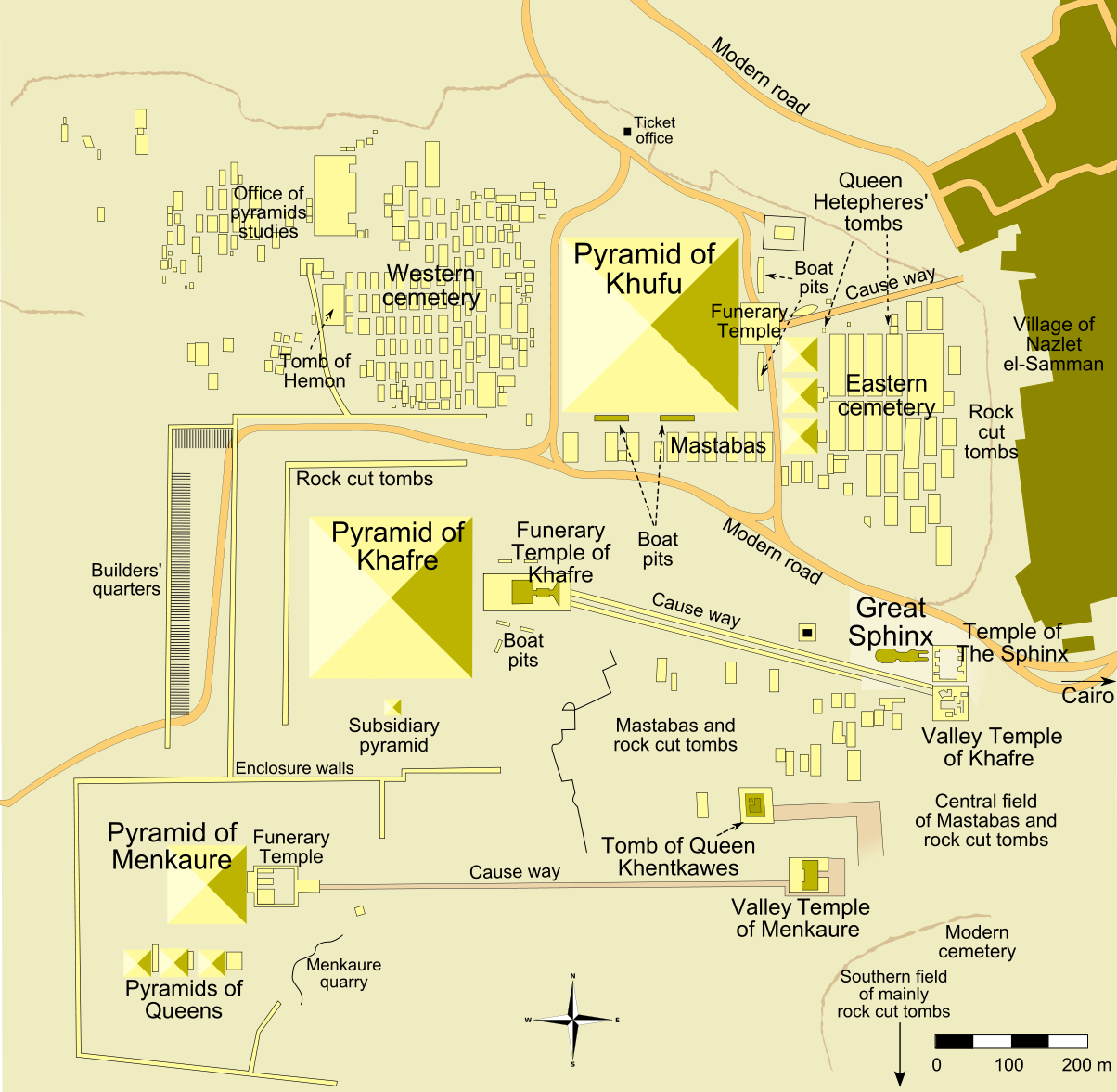 Giza Pyramid Complex Map Giza Pyramid Complex Wikipedia - Map of egypt pyramids and sphinx