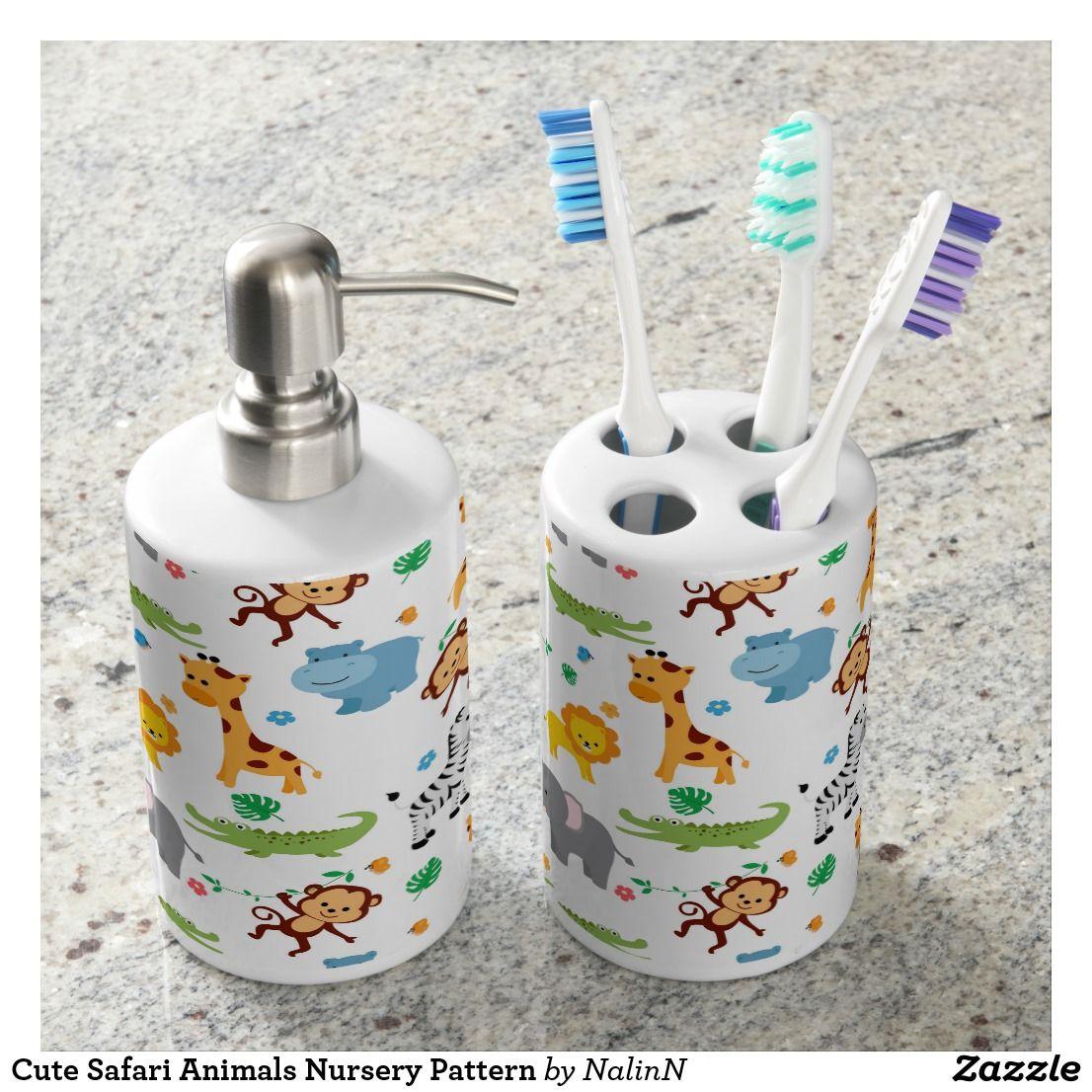 Cute Safari Animals Nursery Pattern Bathroom Set | Bath Sets ...