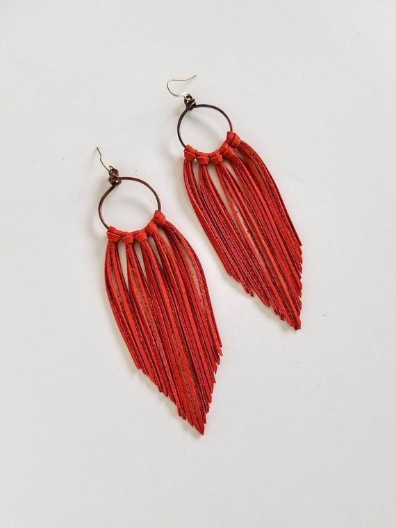 Ginger Rust Leather Fringe Boho Earrings, Fringe Leather Earrings, Fringe Boho Earrings