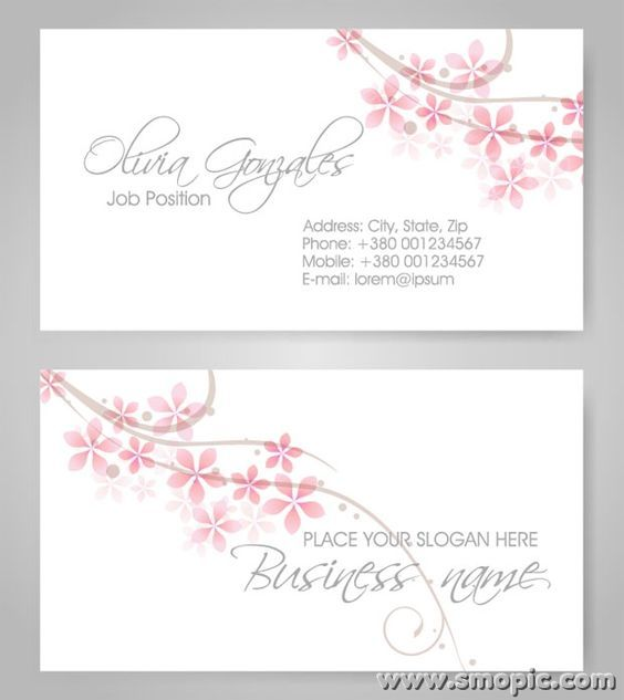 simple fresh petals female theme business card background design