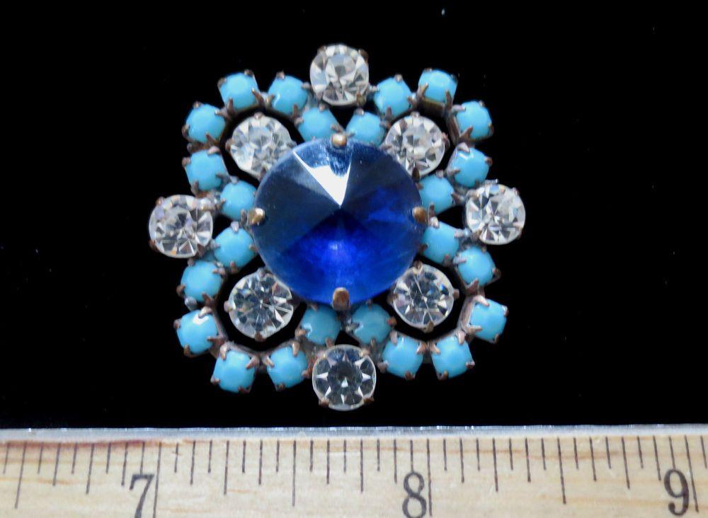 Macnificent Czech Vintage Style Rhinestone Glass Button  Turquoise w/c Blue  W99