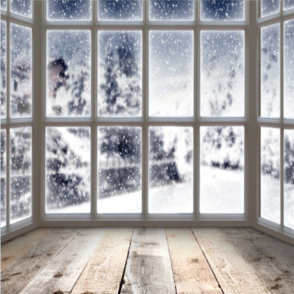 Amazon Com Winter Indoor Photography Backdrops Window Backgrounds Gray Wood Floor For Photography Props Vide Christmas Backdrops Winter Window Diy Photo Booth