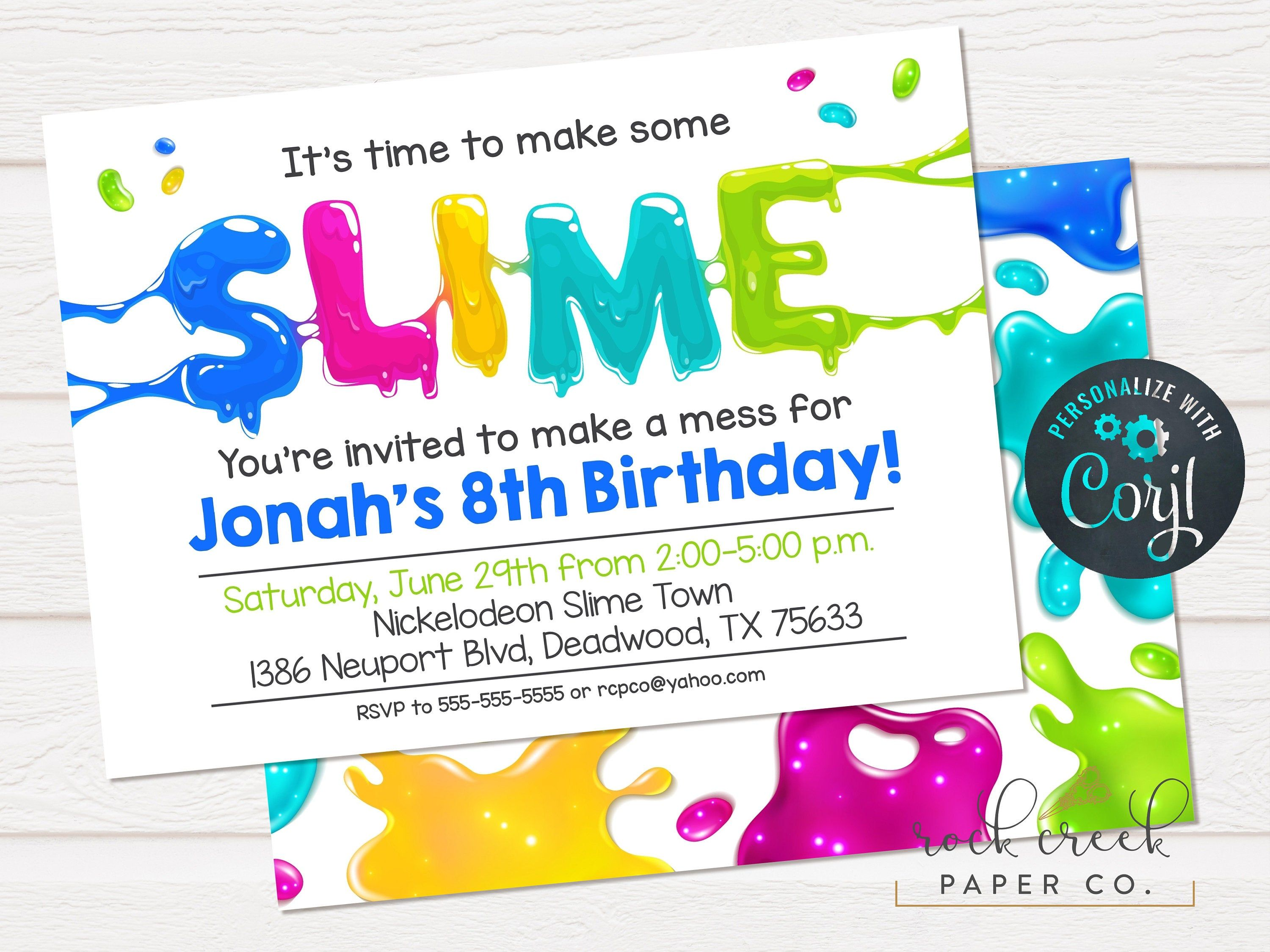 Slime birthday invitation slime making party slime party