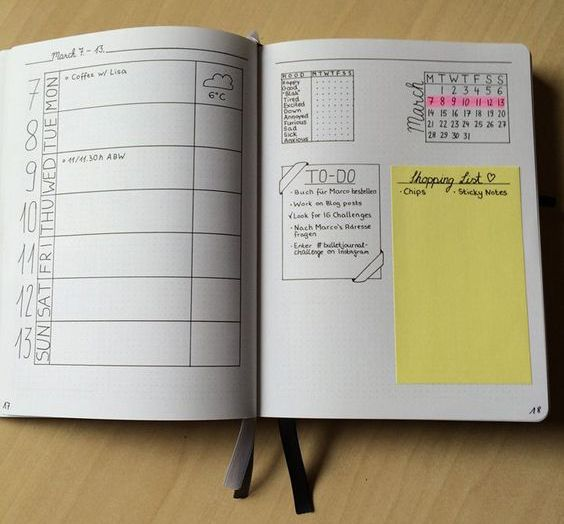 25 weekly spread ideas for your bullet journal let 39 s get organized. Black Bedroom Furniture Sets. Home Design Ideas