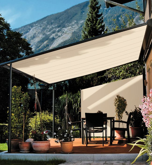Photo gallery for markilux pergola 110 retractable awning for Retractable patio awning canopy