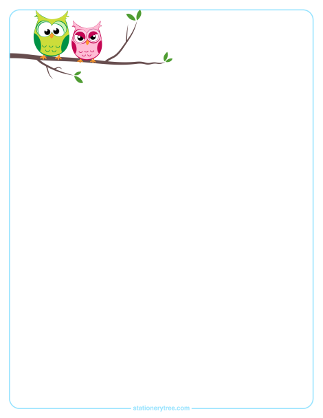 owl stationery in three versions blank stationery lined stationery
