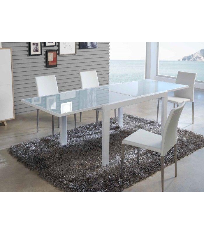 Mesa de comedor extensible de cristal con diseño moderno Ancho 120