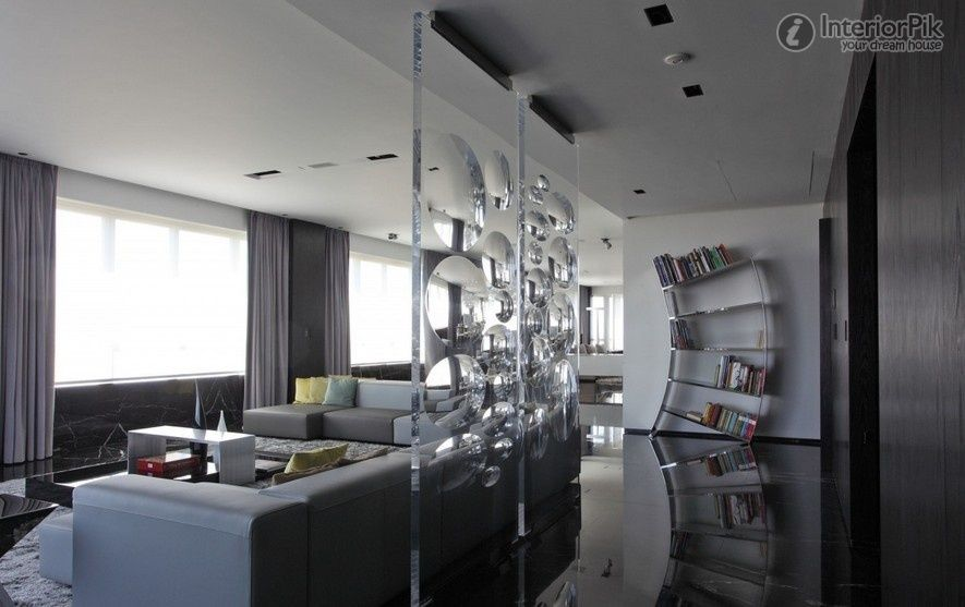 Great Architecture, White Window Curtains And Blinds For Living Room Plus Glass  Room Divider Screens And Stainless Steel Wall Bookshelves Plus Lea. Part 17