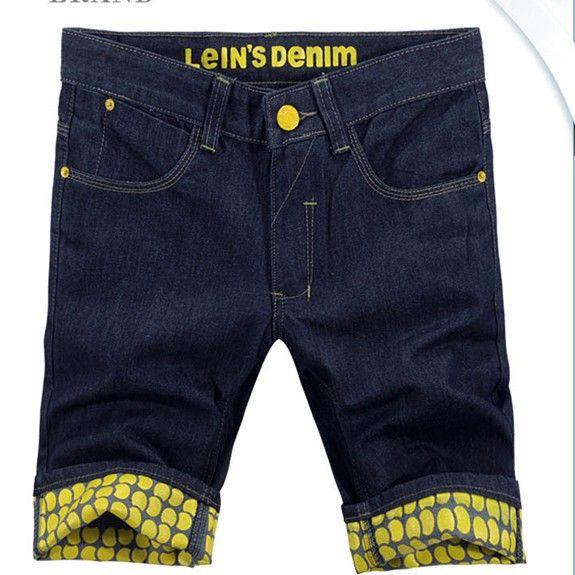 YM058 men casual fashion plaid jeans denim shorts 2014 summer male capris blue roll up hem fashion jeans denim shorts