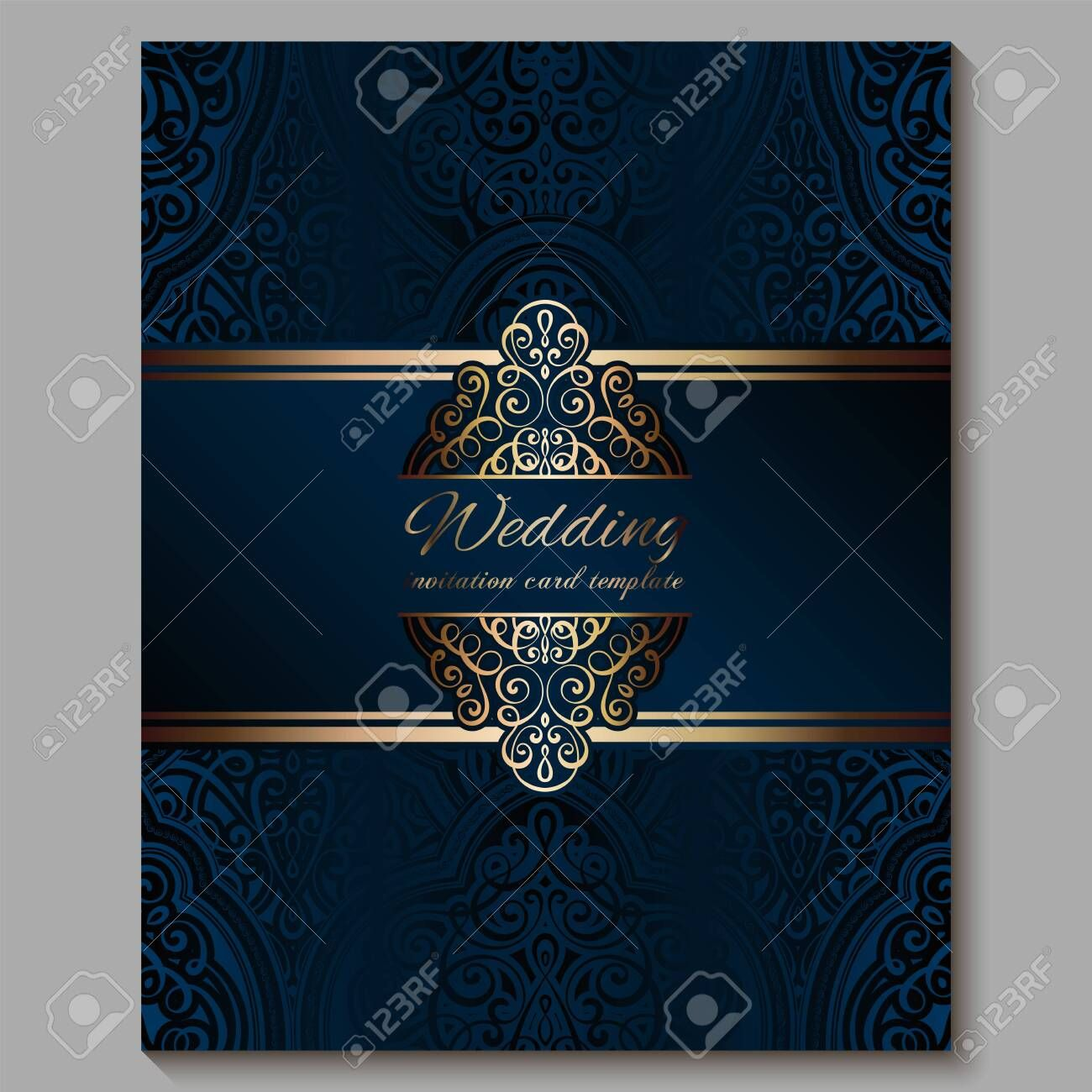 Wedding Invitation Card With Gold Shiny Eastern And Baroque Rich Foliage Royal Blue Ornate Islamic Bac Wedding Invitation Cards Card Template Invitation Cards