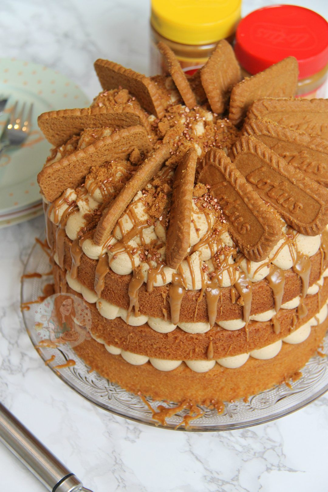 A delicious and moist 3layer biscoff cake with lotus