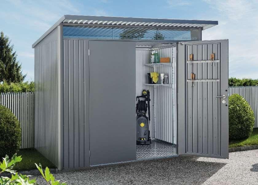 Design Gerätehaus Holz Metall anthrazit Schuppen modern