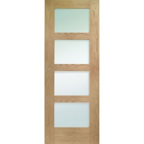 XL Joinery Internal Un Finished Oak Shaker 4 Panel Door With Obscure Glass    Image