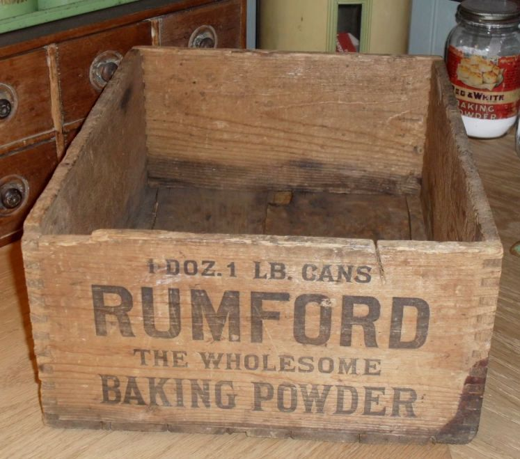 Old Wooden Rumford Baking Powder Advertising Box Crate