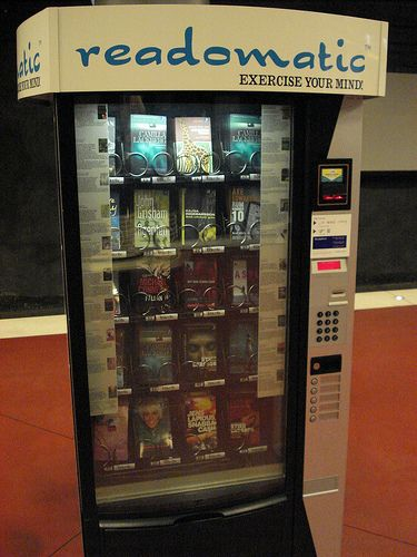 """""""Book Vending Machine Part Duex"""" -- there are more of these out there than I imagined!  Not sure where this one is, but the blogger said """"No, this is not in America. X__X """""""