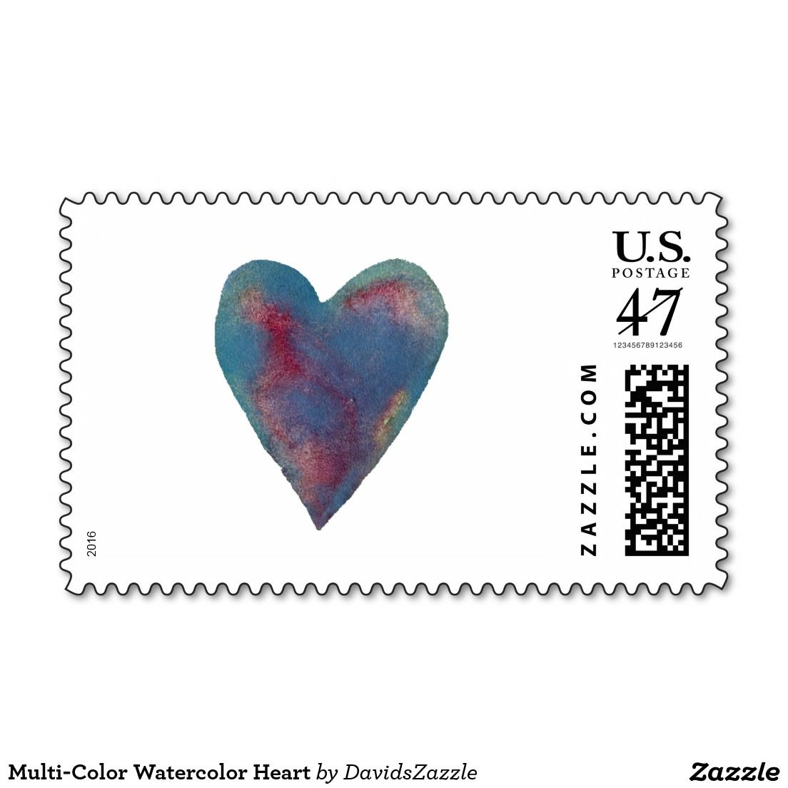 multi color watercolor heart postage stamp postage post mail mailing cost letter invitation greeting card send zazzle buy sale heart