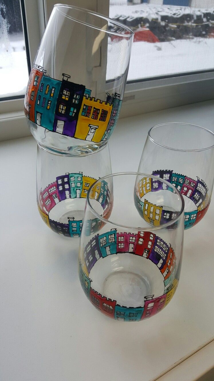 St John's Newfoundland Jellybean Row Stemless Wine Glasses-9151