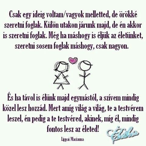 szeretlek testvérem idézetek Pin by Zsanett Markó Dörnyei on Szeretet | Funny quotes