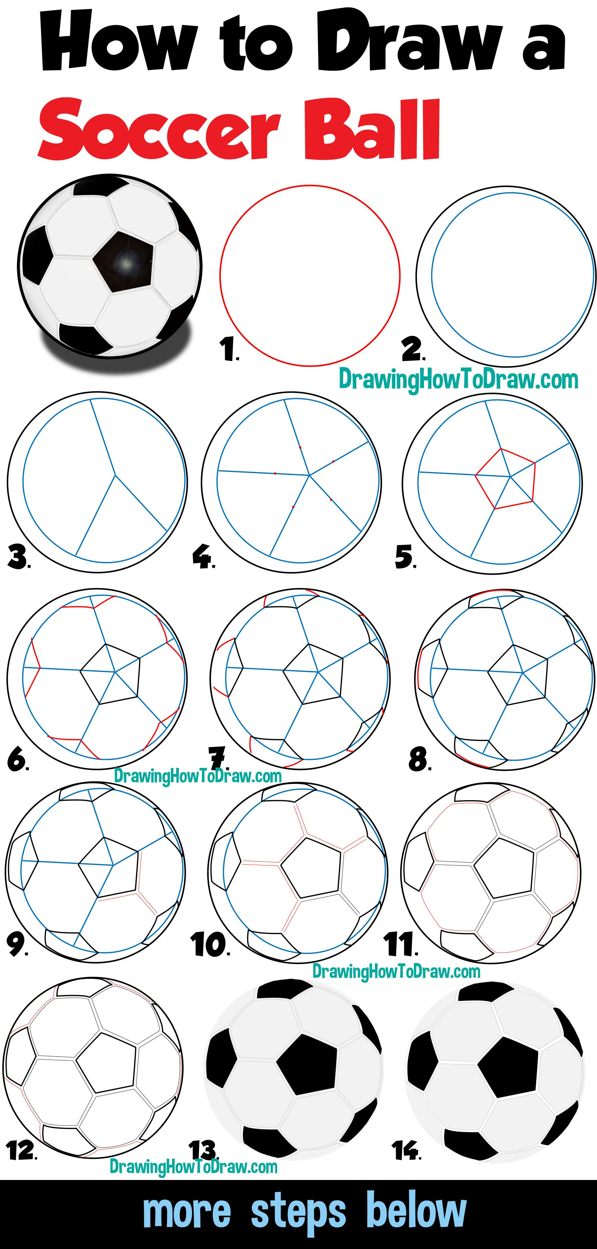 How To Draw A Soccer Ball Easy Step By Step Drawing Tutorial For Beginners How To Draw Step By Step Drawing Tutorials Drawing Tutorials For Beginners Step By Step Drawing