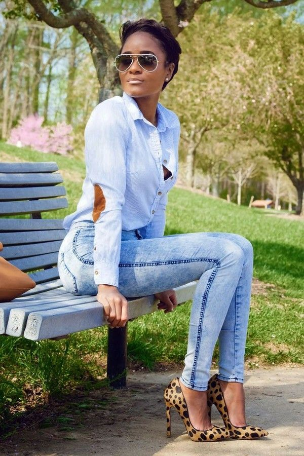 A light blue button-front shirt and light blue skinny jeans feel perfectly suited for weekend activities of all kinds. Complement this look with camel leopard suede pumps.   Shop this look on Lookastic: https://lookastic.com/women/looks/light-blue-dress-shirt-light-blue-skinny-jeans-tan-pumps/8488   — White Sunglasses  — Light Blue Dress Shirt  — Light Blue Skinny Jeans  — Tan Leopard Suede Pumps