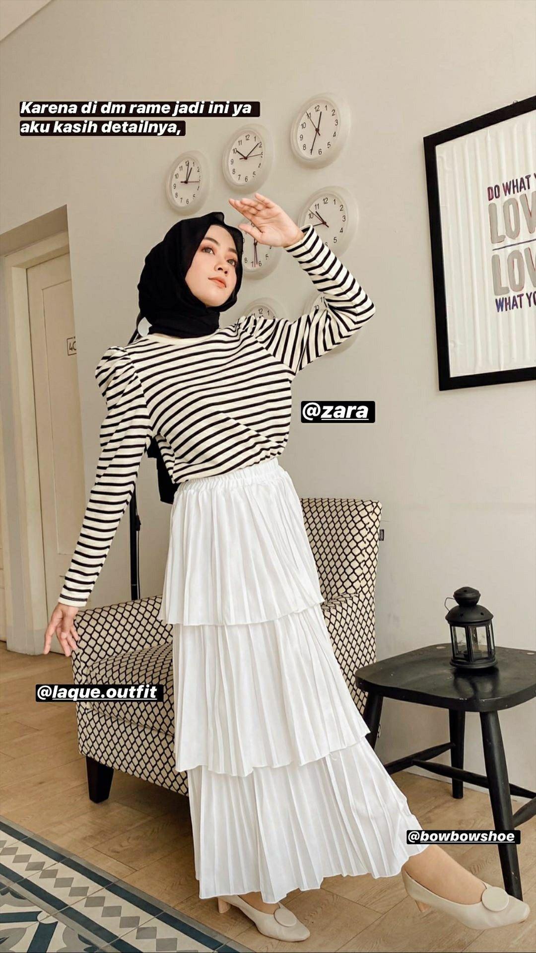OOTD Rok Putih di 8  Model pakaian hijab, Gaya model pakaian
