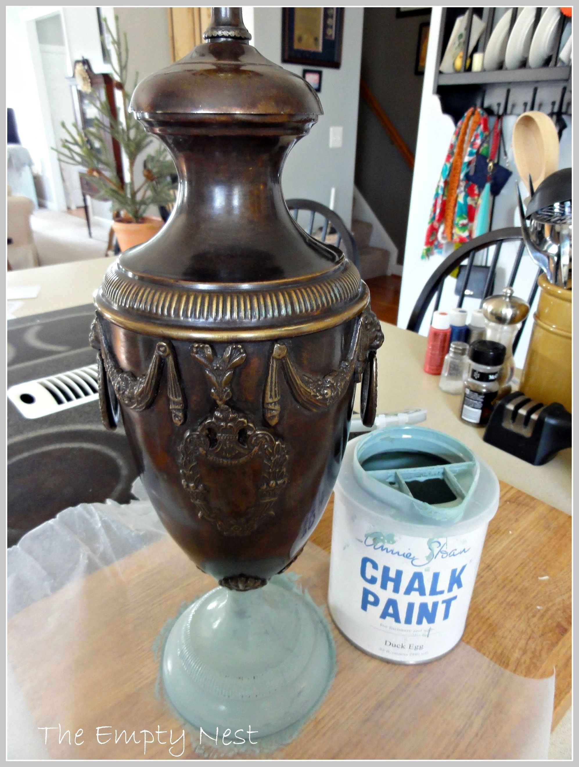 Thrifted Metal Lamp Before Annie Sloan Chalk Paint