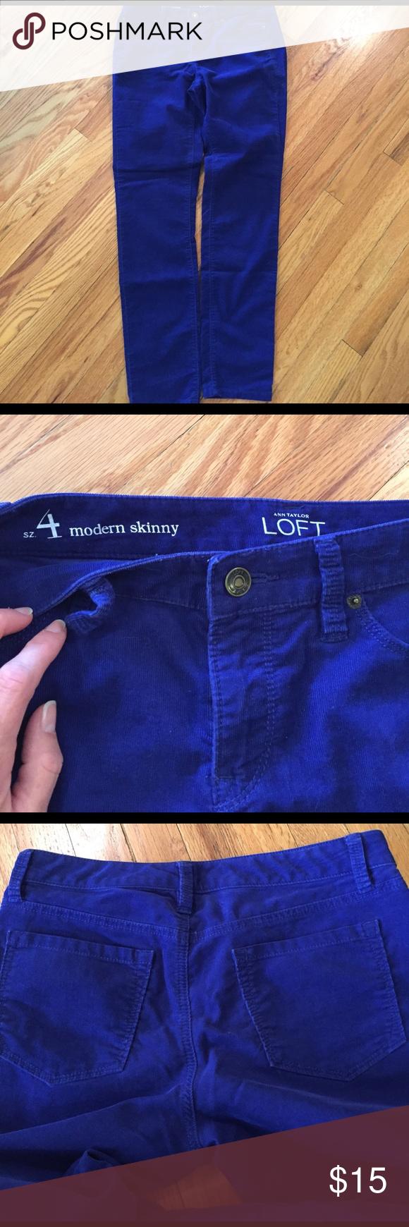 Loft Modern skinny Small wale cords from Loft in royal blue. EUC. MAKE OFFER LOFT Jeans Skinny