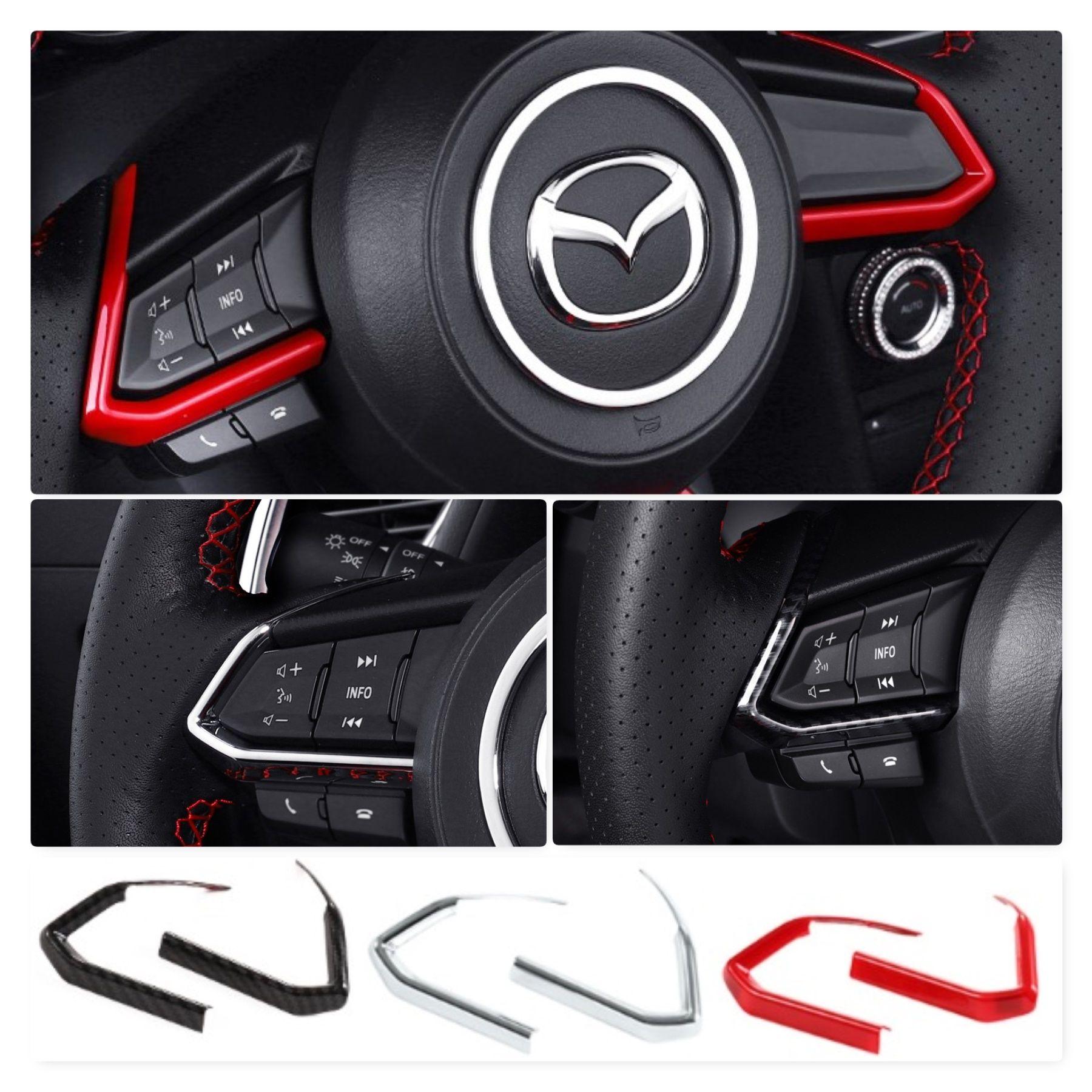Carbon Fiber Style Steering Wheel Frame Cover Trim For MAZDA 3 Axela 2014 15 16