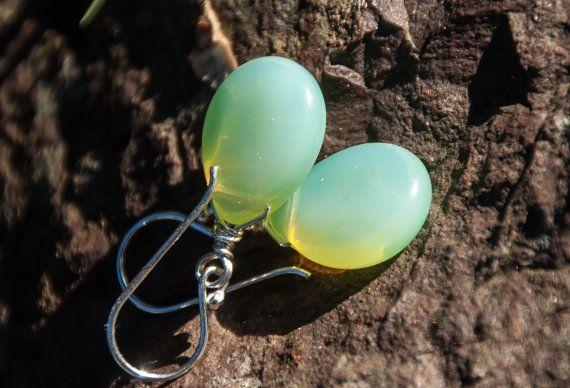 Mint Green Earrings Czech Glass Drop Earrings by maggiesjewelry