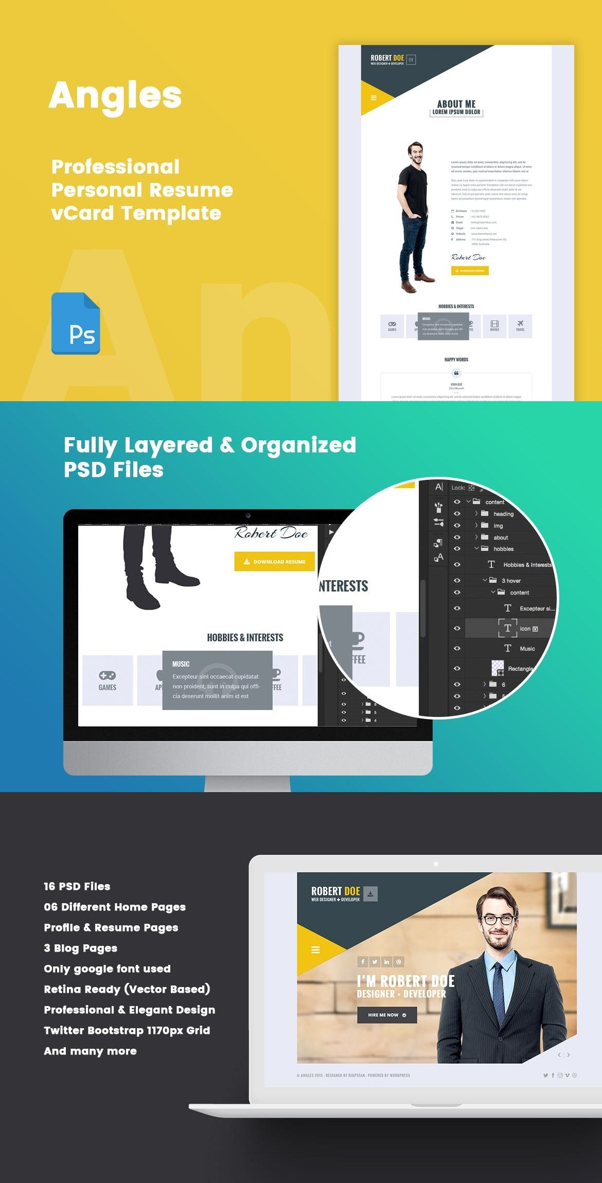 Angles Personal Resume & vCard PSD Template — Adobe