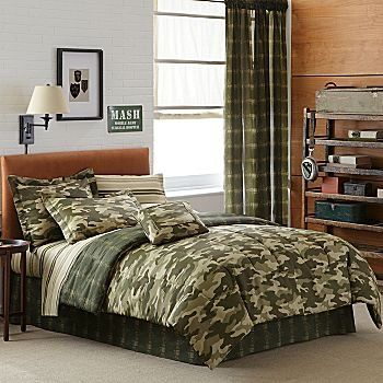 Boy Green Brown Camouflage Twin Comforter Set 6pc Bed In A Bag Home Kitchen