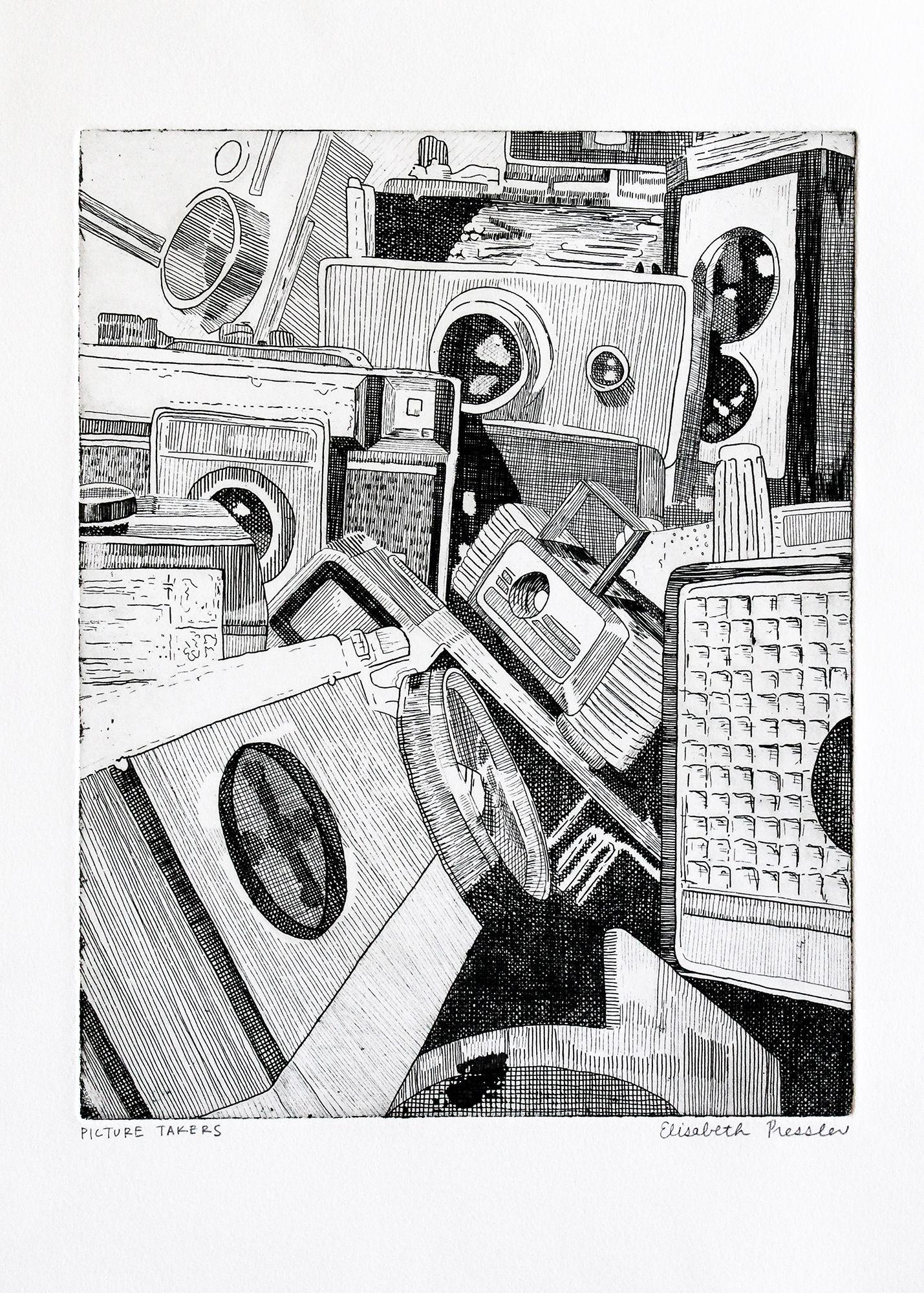 Vintage Cameras Intaglio Print