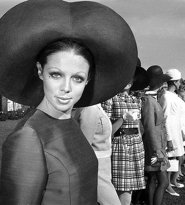 Suzy Kendall, a model from Parkville shows off the hat which won her the most elegant hat prize in the Fashions on the Field finals at Flemington in 1968 || FireHosiery - Leaders in Legwear Fashion - firehosiery.com