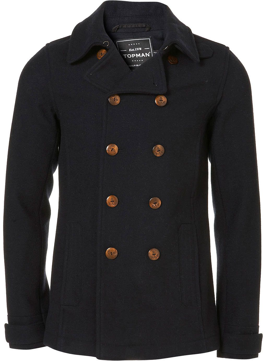 bfeafb7d1d5 Navy Wool Skinny Fit Peacoat - Wool Coats - Mens Jackets   Coats - Clothing  - TOPMAN