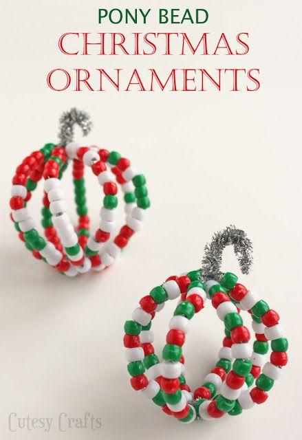 Pony Bead Christmas Ornaments Beaded Christmas Ornaments Kids Christmas Christmas Ornaments