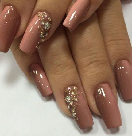 nails coffin rhinestones polish 32 ideas  acrylic nails
