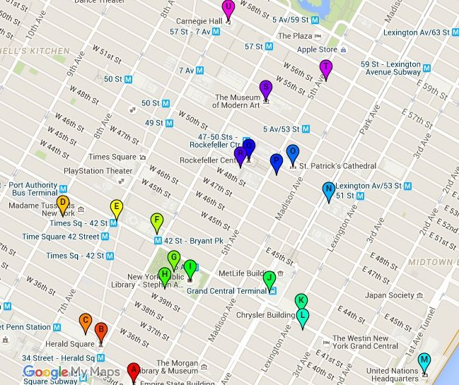 Walking Map of Midtown Manhattan | NYC | Manhattan, Walking map, Nyc